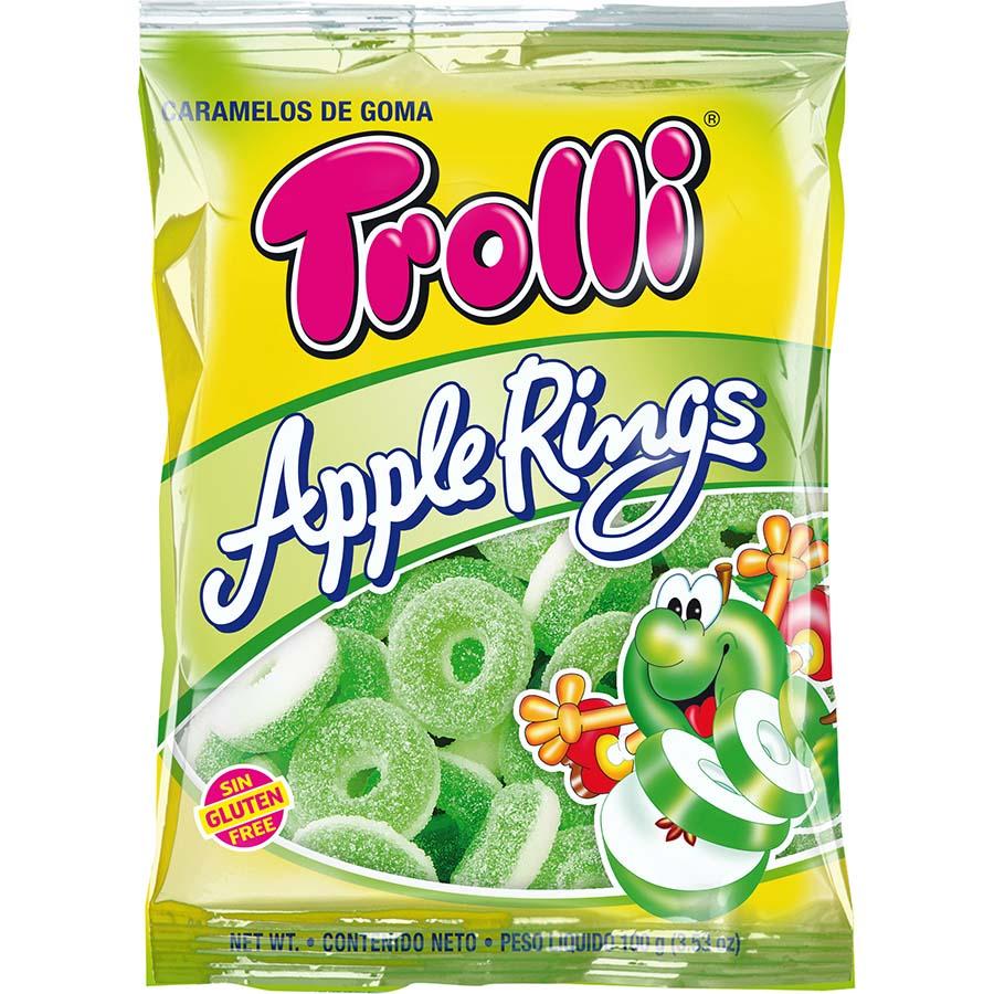 Aros de manzana de Trolli (Bolsa de 100 g) – Caja de 12 unidades