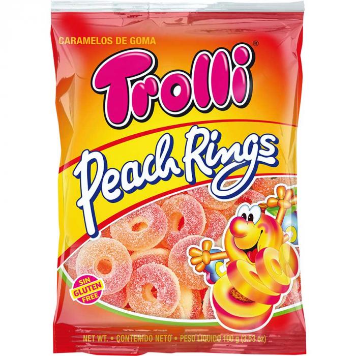 Aros de melocotón de Trolli (Bolsa de 100 g) – Caja de 12 unidades