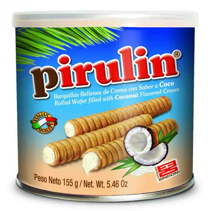 Barquillo de coco de Pirulin (Lata de 155 g) – Caja de 24 unidades