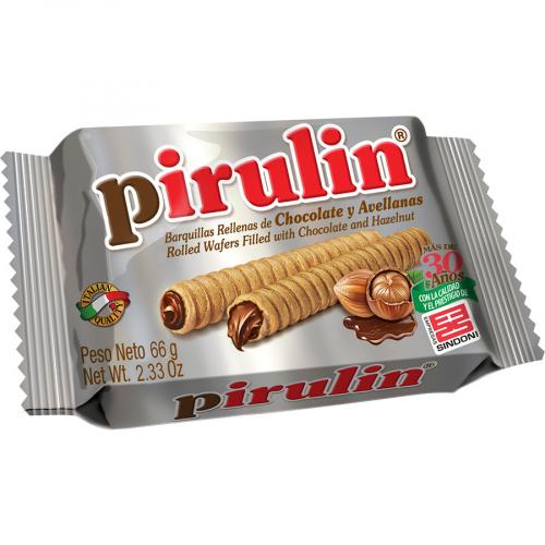 Barquillo relleno de cacao de Pirulin (Bolsa de 66 g) – Caja de 48 unidades
