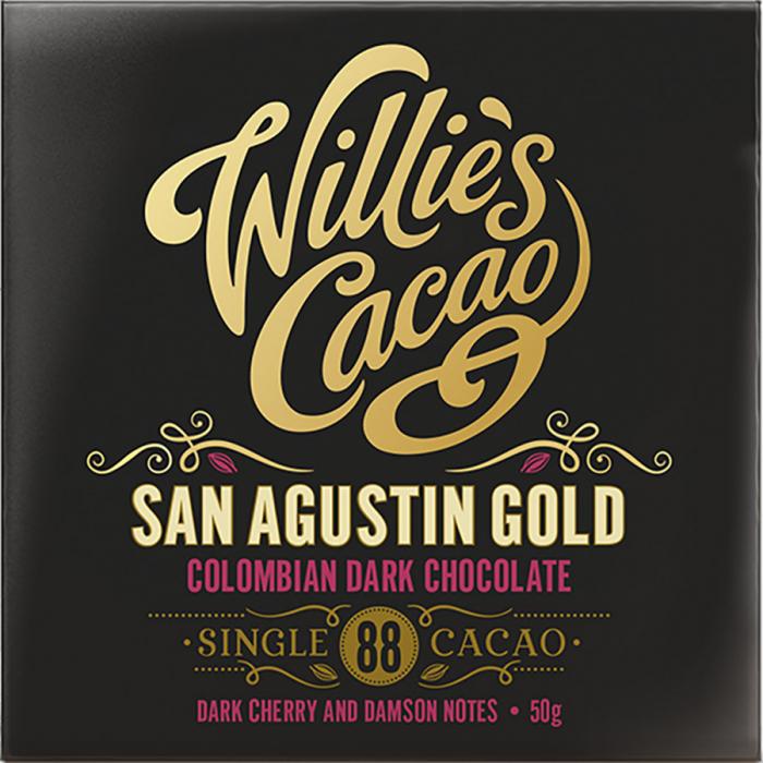 Colombia San Agustín de Willie's Cacao (Tableta de 50 g) – Caja de 12 unidades