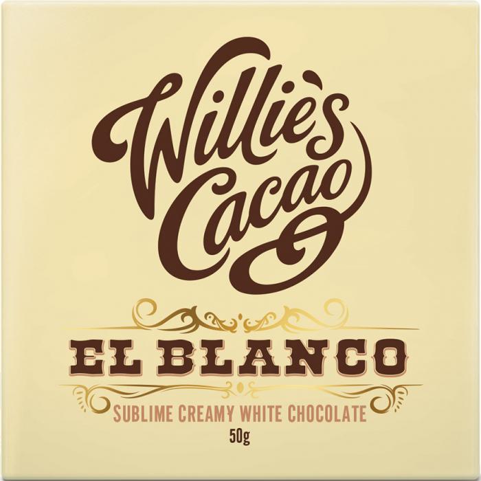 El blanco de Willie's Cacao (Tableta de 50 g) – Caja de 12 unidades
