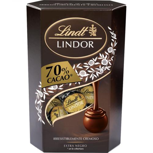 Lindor 70% negro cornet de Lindt (Estuche de 200 g) – Caja de 8 unidades