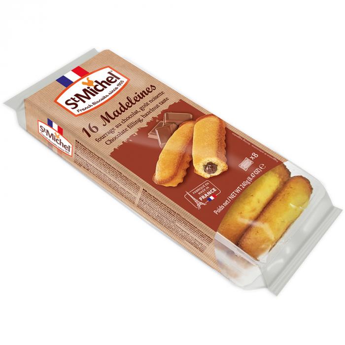 Madeleines rellenas de chocolate de Saint Michel (Bolsa de 240 g) – Caja de 12 unidades