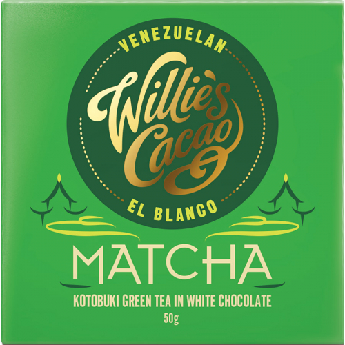 Matcha chocolate de Willie's Cacao (Tableta de 50 g) – Caja de 12 unidades