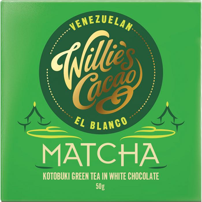 Matcha chocolate de Willie's Cacao (Tableta de 50 g) – Caja de 12 unidades