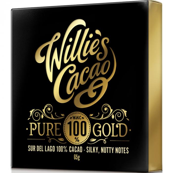 Pure 100% gold de Willie's Cacao (Tableta de 40 g) – Caja de 12 unidades