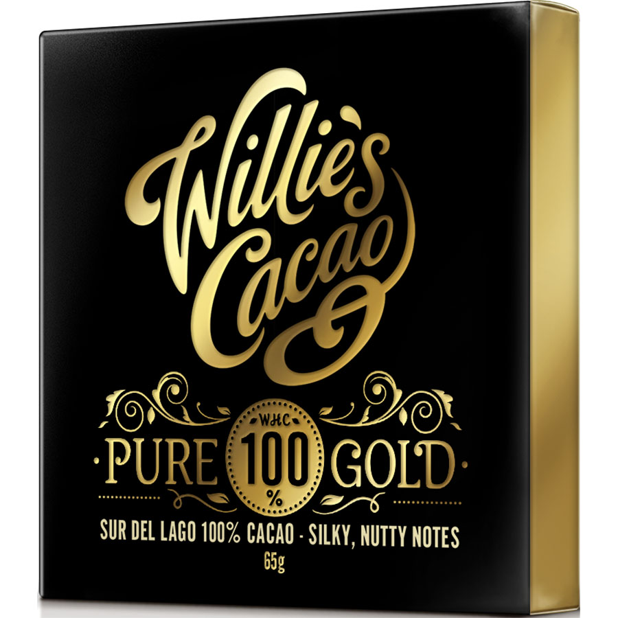 Pure 100% gold de Willie's Cacao (Tableta de 40 g) – Caja de 12 unidades