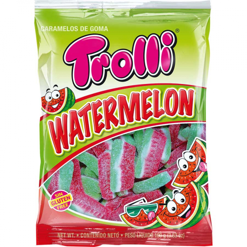 Rodajas de sandía de Trolli (Bolsa de 100 g) – Caja de 12 unidades