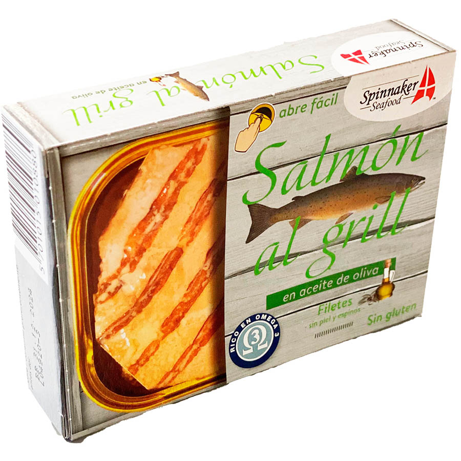 Salmón al grill en aceite de oliva de Spinnaker (Lata de 115 g) – Caja de 10 unidades