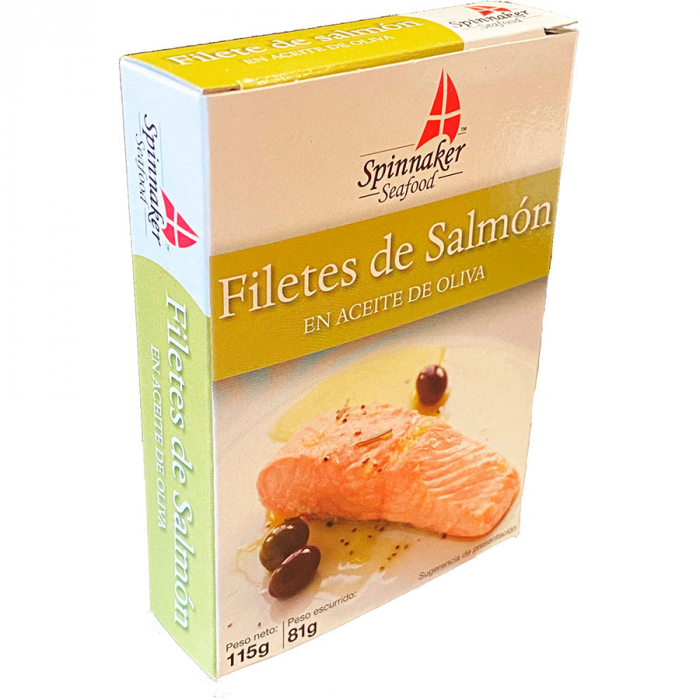 Salmón en aceite oliva de Spinnaker (Lata de 115 g) – Caja de 10 unidades