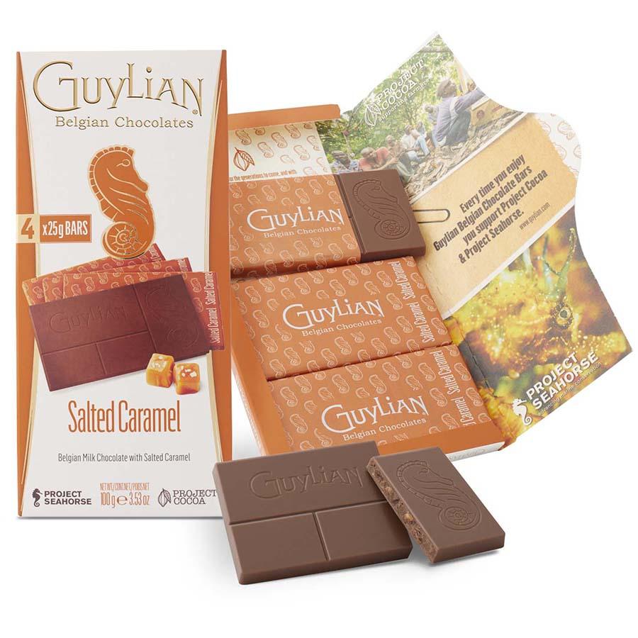 Tableta de chocolate con leche, caramelo y sal de Guylian (100 g) – Caja de 12 unidades