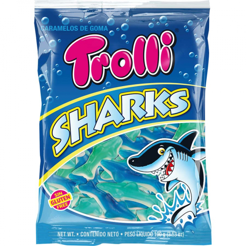Tiburones de Trolli (Bolsa de 100 g) – Caja de 12 unidades